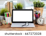 computer on travel agency... | Shutterstock . vector #667272028