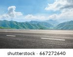 asphalt road and mountain... | Shutterstock . vector #667272640