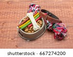Stock photo pet accessories food toy top view 667274200