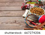Stock photo pet accessories food toy top view 667274206