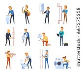 flat color icons set of plumber ... | Shutterstock .eps vector #667275358