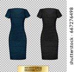 denim dress set. women's dress... | Shutterstock .eps vector #667276498