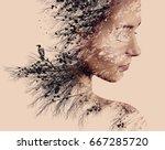 double exposure portrait of... | Shutterstock . vector #667285720