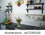 kitchen in the style of... | Shutterstock . vector #667290100