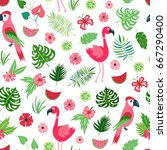 seamless pattern with colorful... | Shutterstock .eps vector #667290400