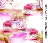 watercolor seamless pattern ... | Shutterstock . vector #667292938