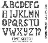font doodle sketch line icon... | Shutterstock .eps vector #667293358