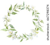watercolor round wreath jasmine ... | Shutterstock . vector #667298374