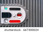 Small photo of Coin acceptor for payments reception, free space. Coin acceptor in vending machine, copy space. Grey metal background