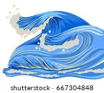 Blue High Wave With White Foam...