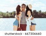 portrait of women kissing... | Shutterstock . vector #667306660