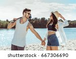 couple looking at each other... | Shutterstock . vector #667306690