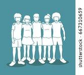 group of children arm around... | Shutterstock .eps vector #667310659