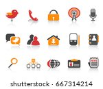 simple orange color social... | Shutterstock .eps vector #667314214