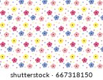 Stock vector colorful small flower pattern 667318150