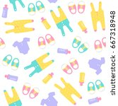 seamless baby pattern. vector... | Shutterstock .eps vector #667318948