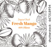 vector frame with mango and... | Shutterstock .eps vector #667318954