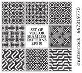 set of monochrome seamless... | Shutterstock .eps vector #667319770