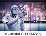 3d rendering robot working with ... | Shutterstock . vector #667327240