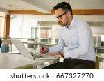 business man working in office... | Shutterstock . vector #667327270