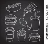 hand drawn doodles of hamburger ... | Shutterstock .eps vector #667327486
