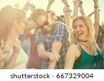 big group of people dancing and ... | Shutterstock . vector #667329004