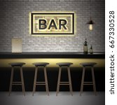 vector bar  pub interior with... | Shutterstock .eps vector #667330528