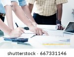 business meeting time with...   Shutterstock . vector #667331146