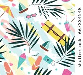 summer time vector seamless... | Shutterstock .eps vector #667334548