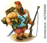 pirate with a gun and a gun.... | Shutterstock . vector #667336060