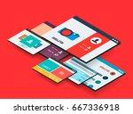 isometric app concept  vector... | Shutterstock .eps vector #667336918