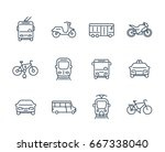 city transport icons  transit... | Shutterstock .eps vector #667338040