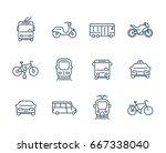city transport icons  transit...   Shutterstock .eps vector #667338040