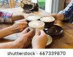 latte coffee art and people... | Shutterstock . vector #667339870