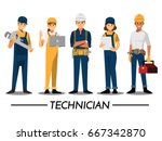 technician and builders and... | Shutterstock .eps vector #667342870