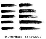 set of black paint  ink brush... | Shutterstock .eps vector #667343038