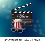 opened clapperboard  popcorn...   Shutterstock . vector #667347526