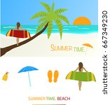 summer at the beach. girl with... | Shutterstock .eps vector #667349230