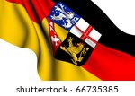Flag of Saarland, Germany against white background. - stock photo
