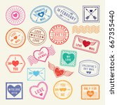 vintage romantic postal stamps. ... | Shutterstock .eps vector #667355440