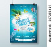 vector summer beach party flyer ... | Shutterstock .eps vector #667358614