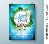 vector summer beach party flyer ... | Shutterstock .eps vector #667358620