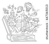 reading book  imagination... | Shutterstock .eps vector #667365013