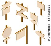isometric set of a wooden... | Shutterstock .eps vector #667365898