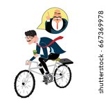 business man with coffee ride a ... | Shutterstock .eps vector #667369978