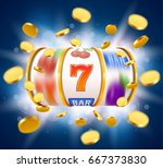 golden slot machine with flying ... | Shutterstock .eps vector #667373830