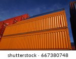 orange shipping containers at