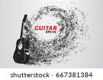 guitar of the particles. the... | Shutterstock .eps vector #667381384