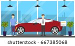 automobile showroom interior. | Shutterstock . vector #667385068