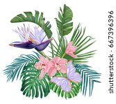 tropical flowers and leaves.... | Shutterstock .eps vector #667396396